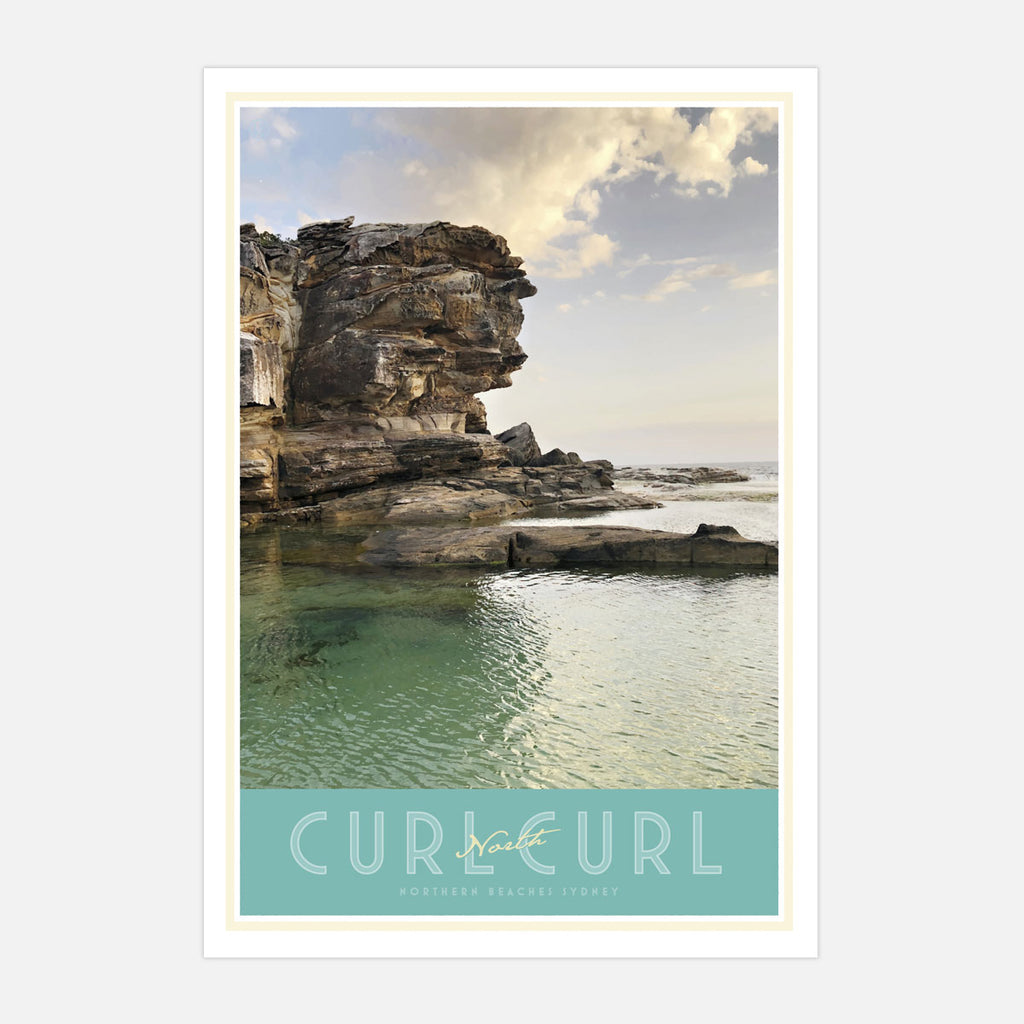 North Curl Curl vintage travel style poster by places we luv