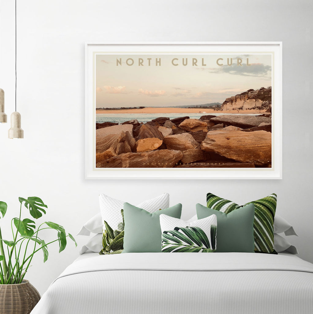 Curl Curl North vintage style travel white framed poster by places we luv