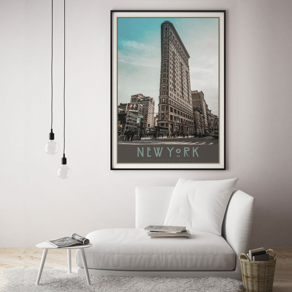New York Flatiron print vintage travel style designed by Places We Luv