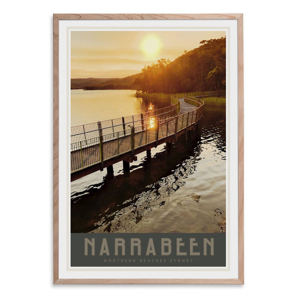 Narrabeen Lake print vintage travel style in oak frame by placesweluv