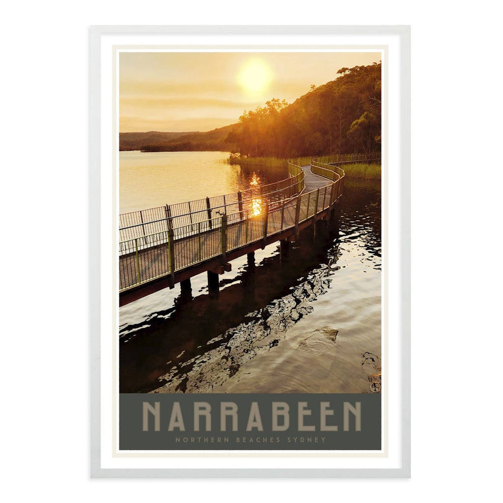 Narrabeen Lake print vintage travel style in white frame by placesweluv