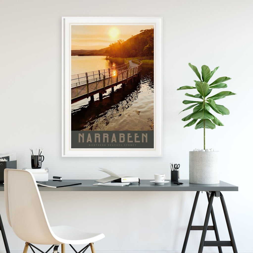 Narrabeen Lake poster vintage travel style by placesweluv
