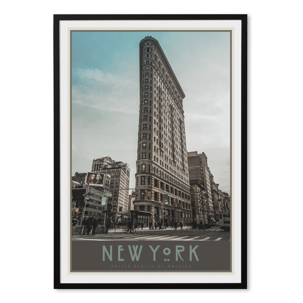 New York Flatiron black framed print vintage travel style designed by Places We Luv
