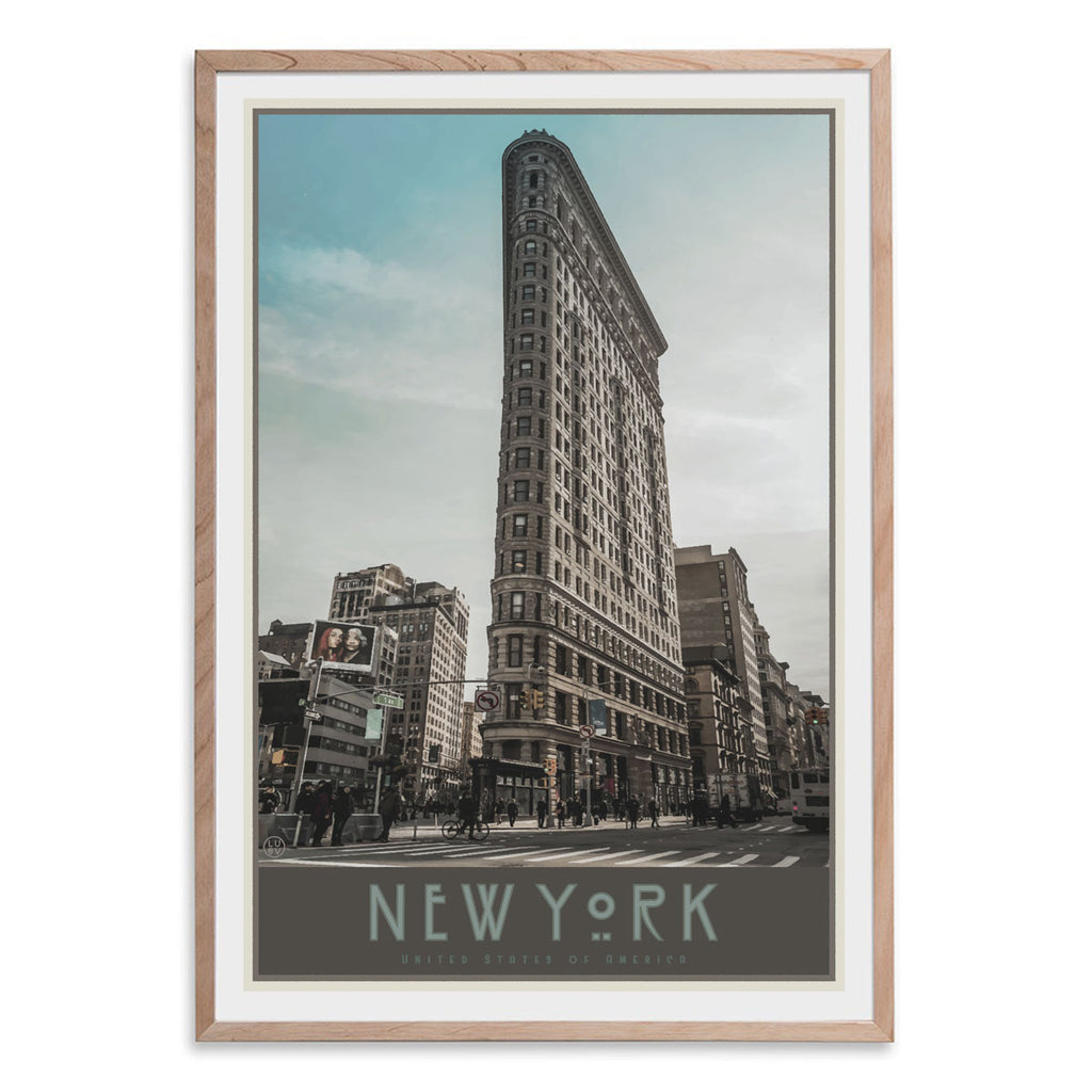 New York Flatiron oak framed print vintage travel style designed by Places We Luv