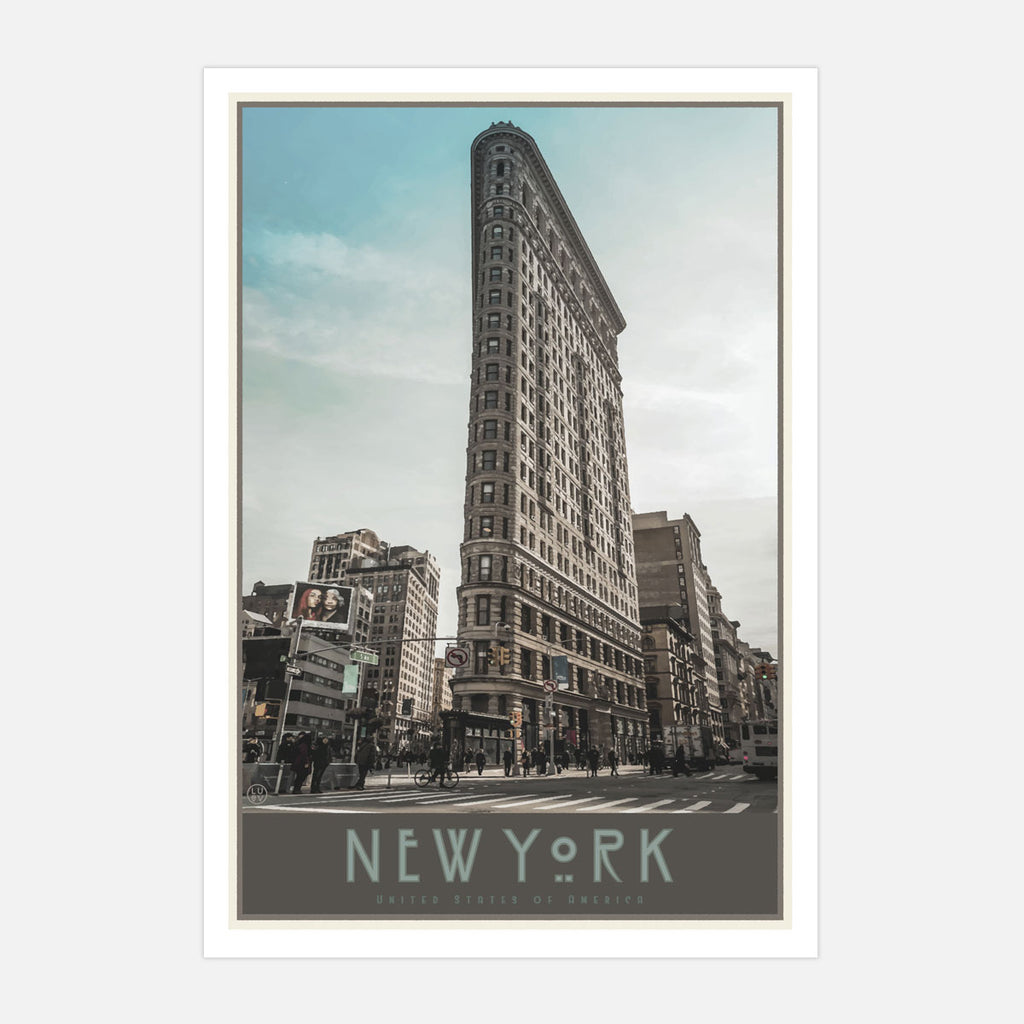 New York Flatiron poster vintage travel style designed by Places We Luv
