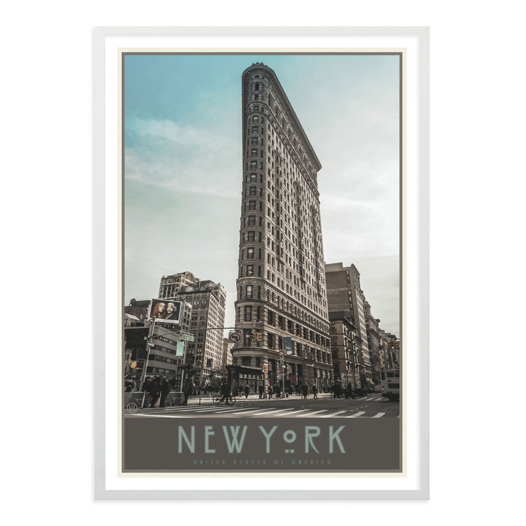 New York Flatiron white framed print vintage travel style designed by Places We Luv