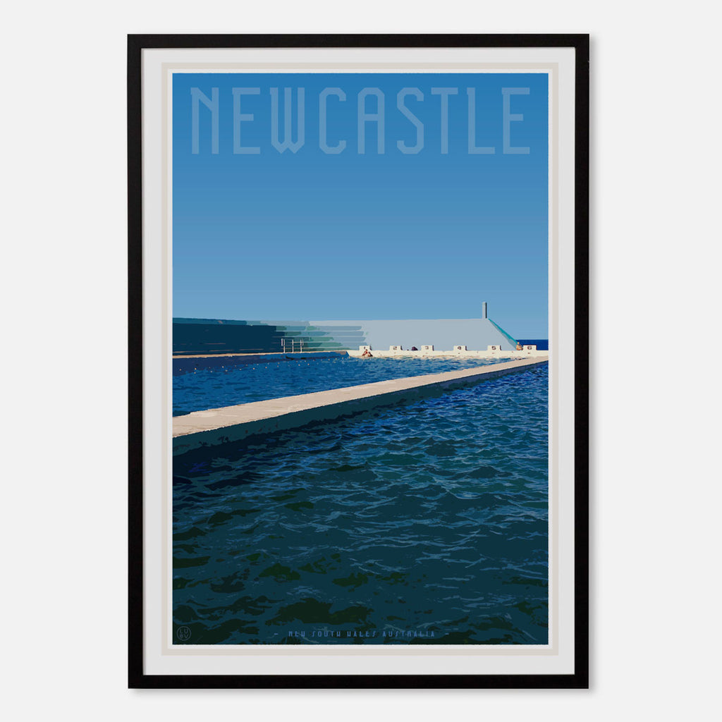 Vintage style travel Print Newcastle ocean baths by places we luv