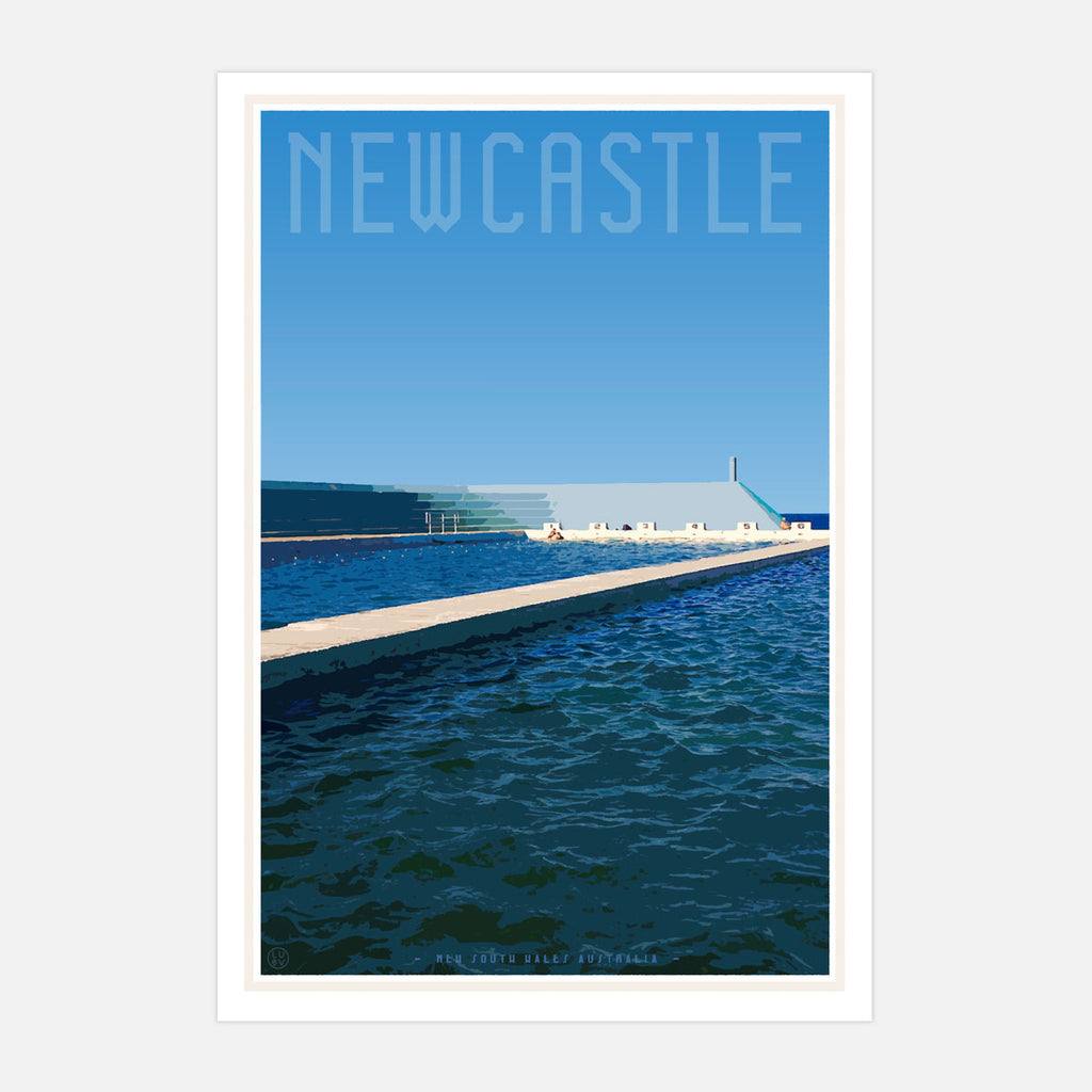 Vintage style travel Print Newcastle baths by places we luv