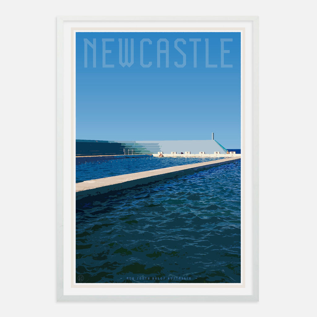 Vintage style travel Print Newcastle ocean baths - places we luv