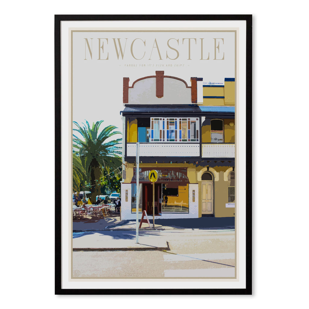 Newcastle fish and chips vintage travel style print by places we luv