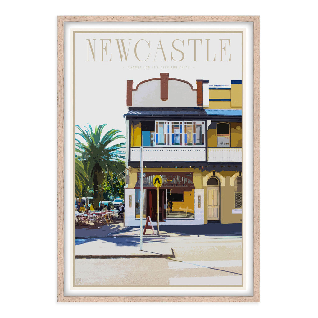 Newcastle fish and chips vintage travel style framed print places we luv