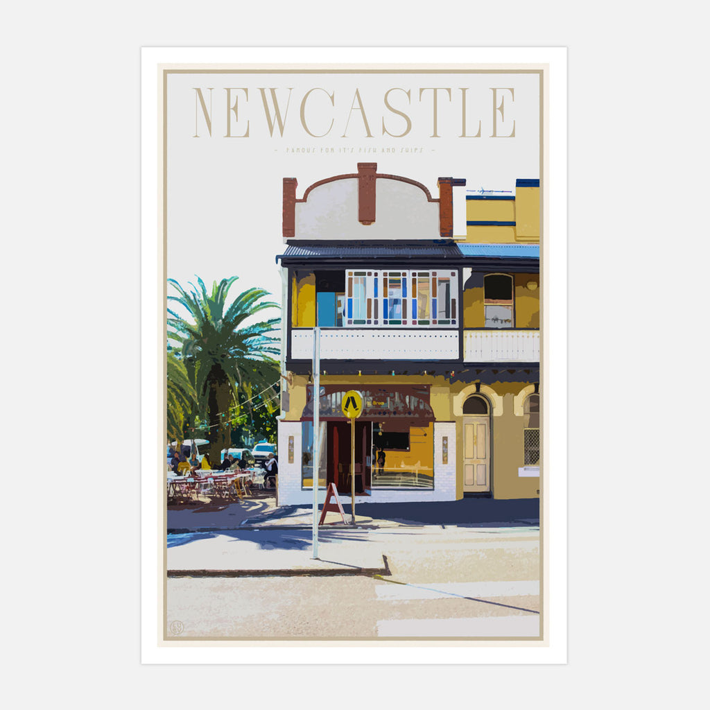 Newcastle fish and chips vintage travel style print places we luv