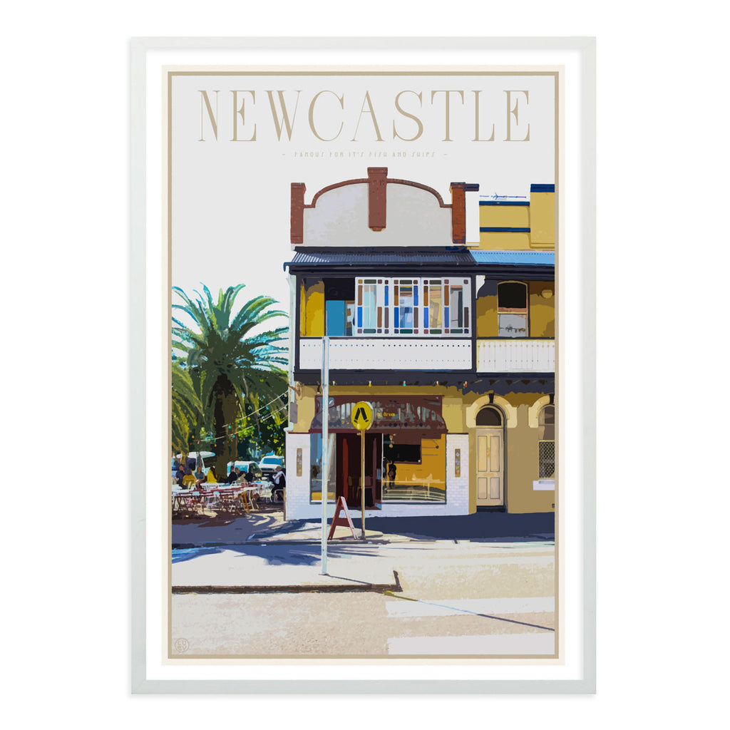 Newcastle fish and chips vintage travel style white framed print places we luv