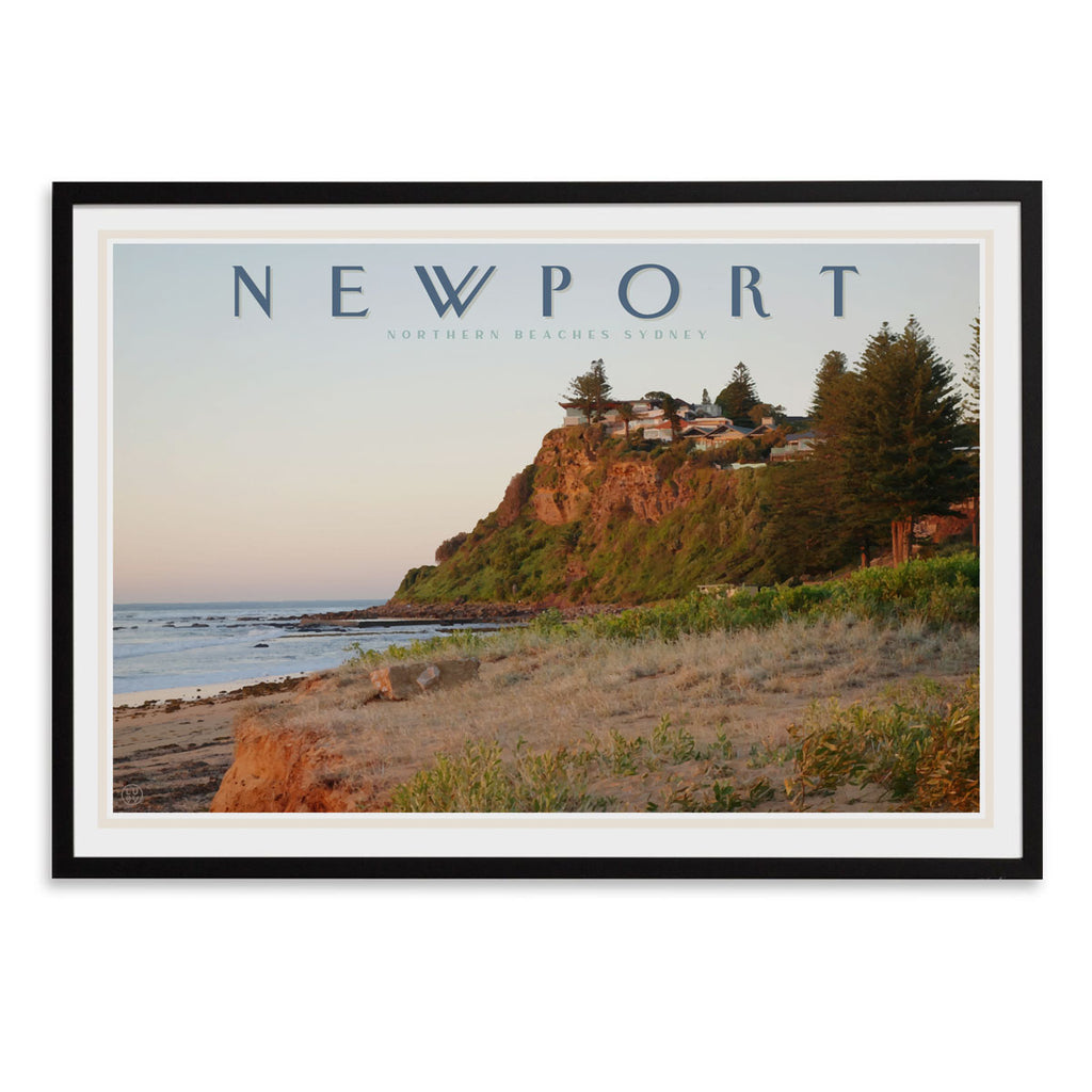 Newport headland vintage travel style black framed print by places we luv