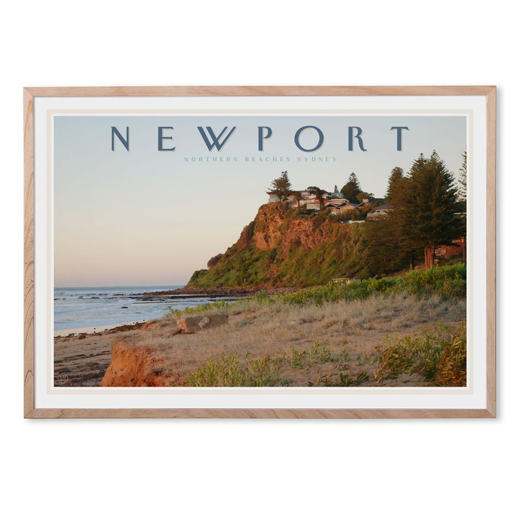 Newport headland vintage travel style oak framed print by places we luv