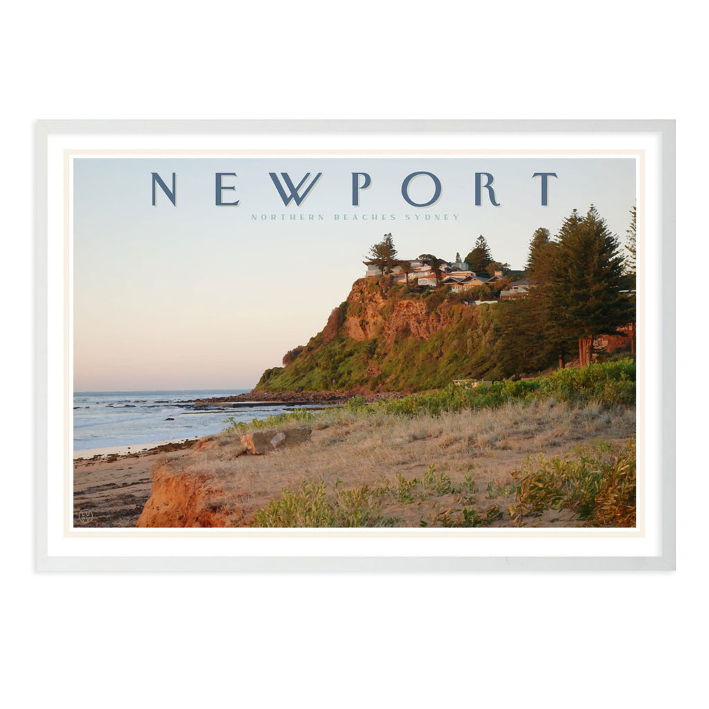 Newport headland vintage travel style white framed print by places we luv