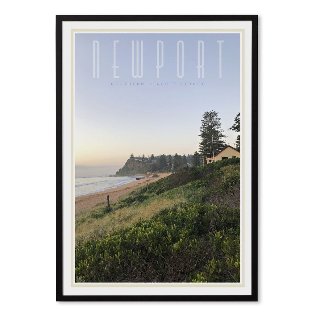 Newport beach vintage travel style print by places we luv