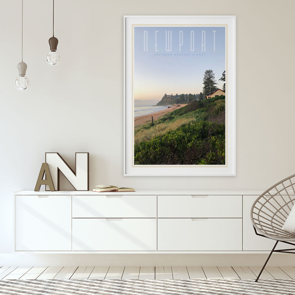 Newport headland print framed in white - places we luv