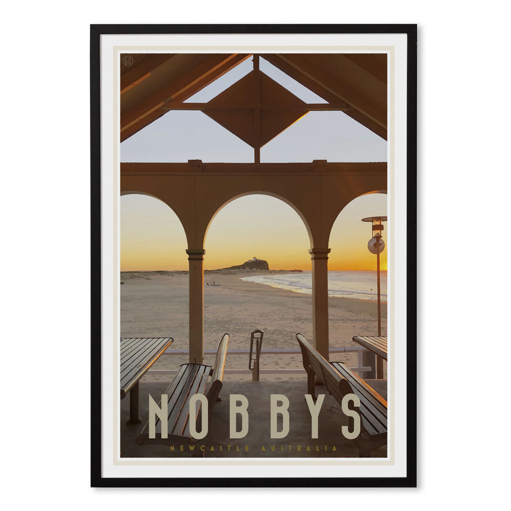 Nobbys beach newcastle vintage travel style black framed print by placesweluv
