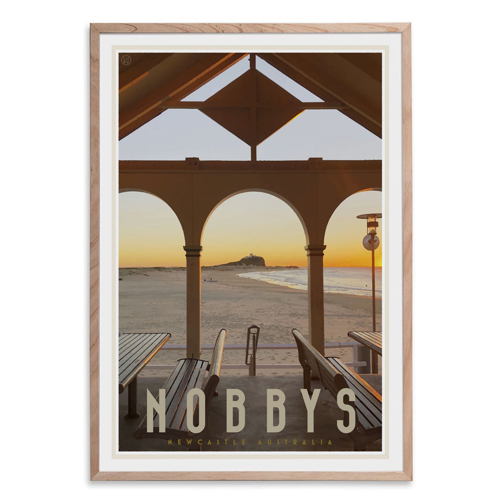 Nobbys beach newcastle vintage travel style oak framed print by placesweluv