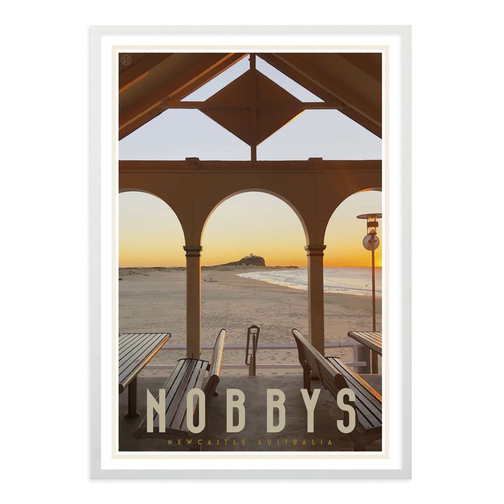 Nobbys beach newcastle vintage travel style white framed print by placesweluv