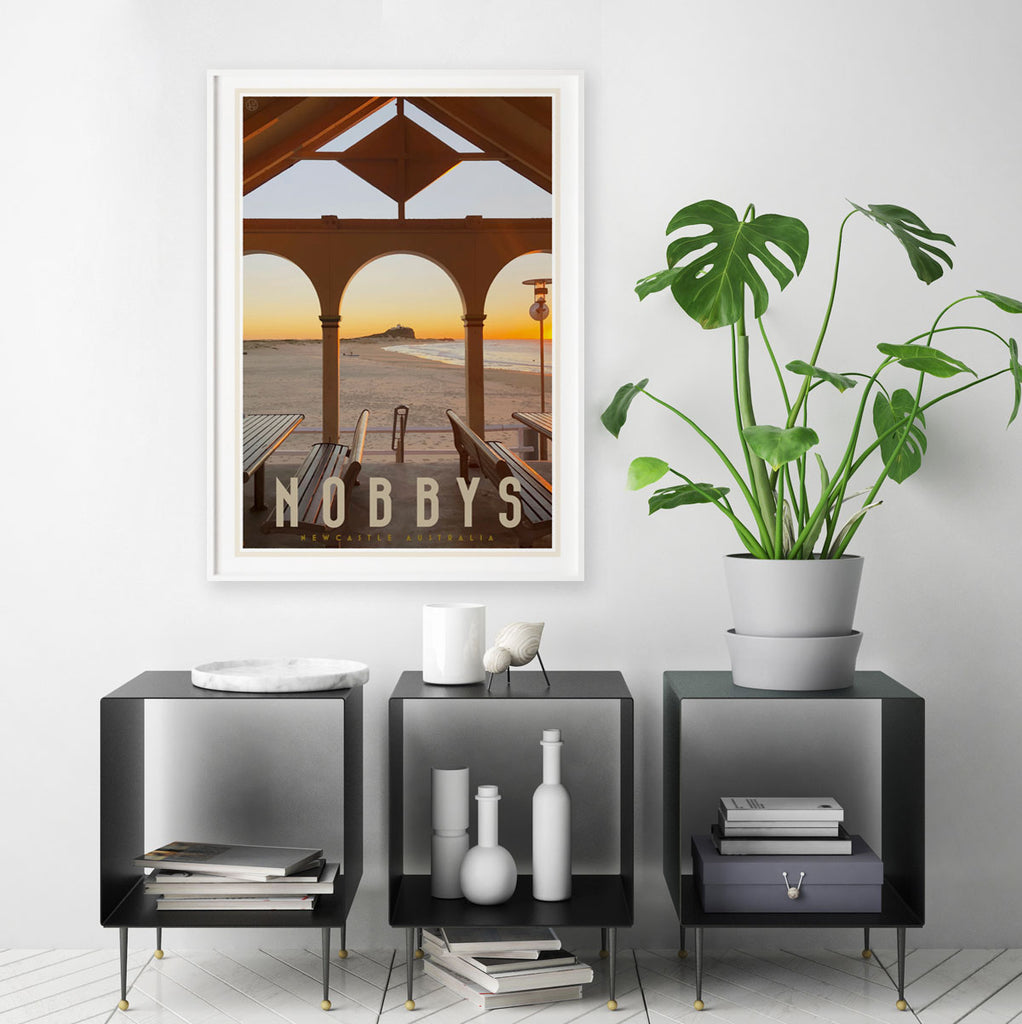 Nobbys beach newcastle vintage travel style print by placesweluv
