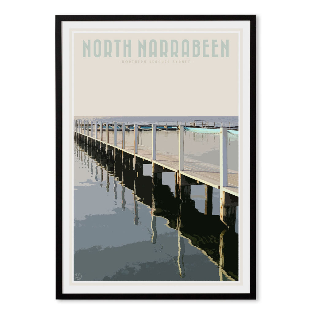 North Narrabeen vintage travel style black framed print by Places We Luv
