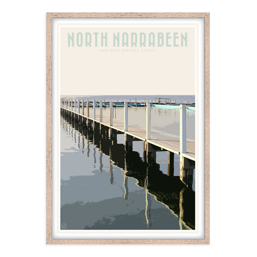 North Narrabeen vintage travel style oak framed print by Places We Luv