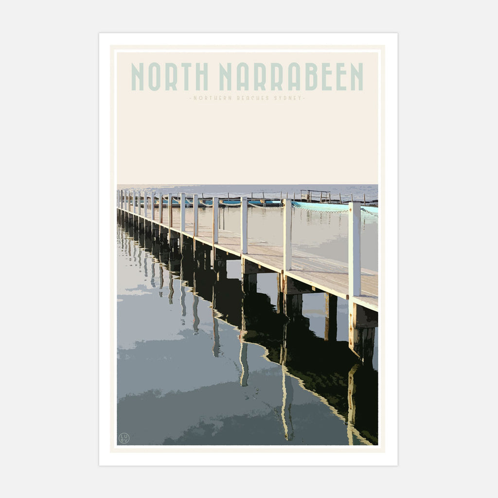 North Narrabeen vintage travel style art print by Places We Luv