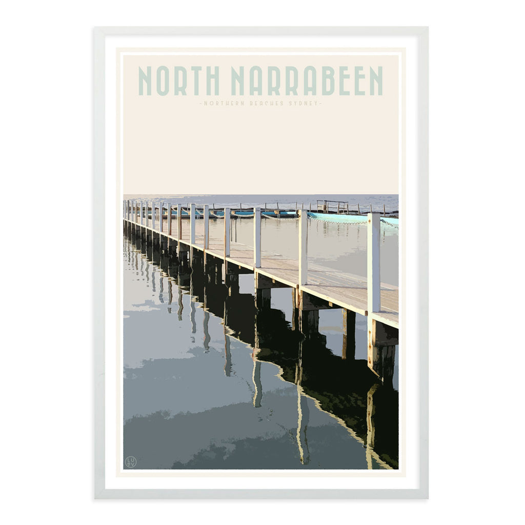 North Narrabeen vintage travel style white framed print by Places We Luv