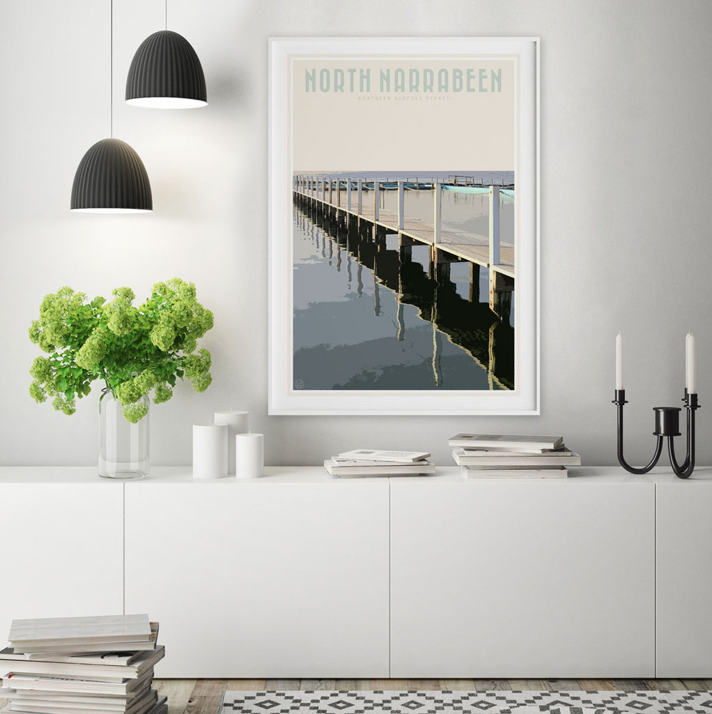 North Narrabeen vintage travel style print by Places We Luv