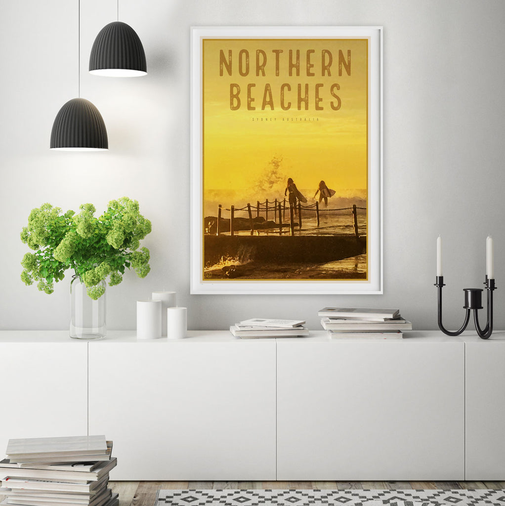 Northern Beaches vintage travel style prints by Places We Luv