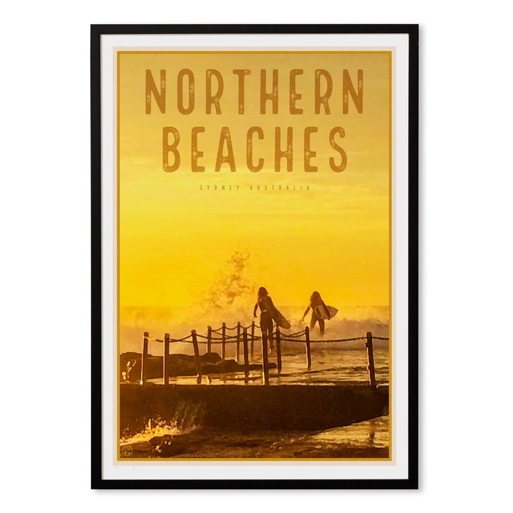 Northern Beaches vintage travel style framed prints by Places We Luv