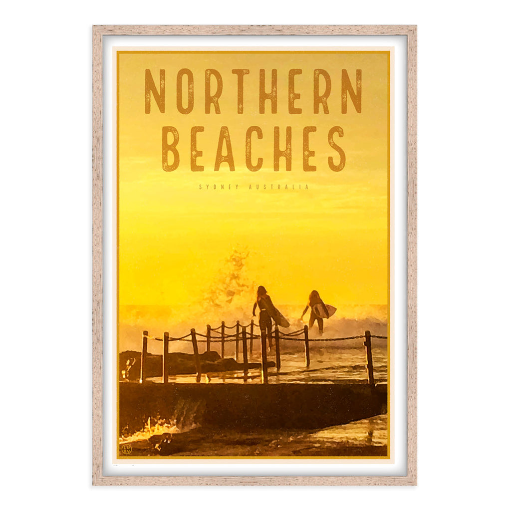 Northern Beaches vintage travel style wood framed prints by Places We Luv