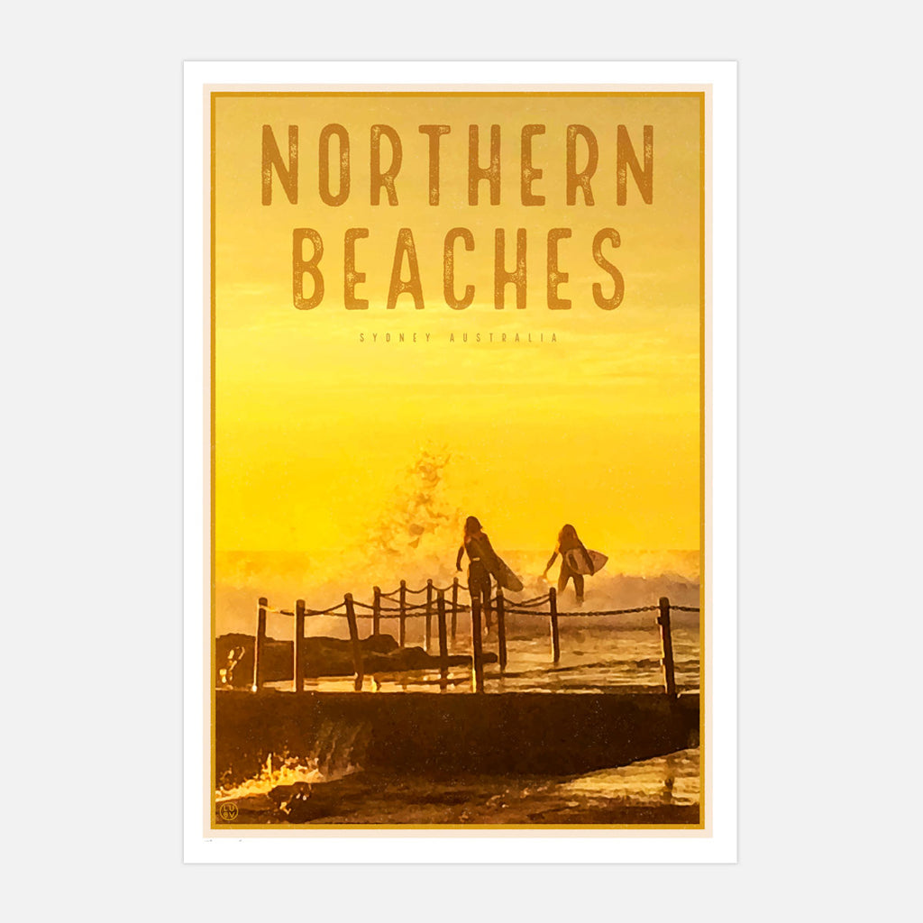 Northern Beaches vintage travel style art prints by Places We Luv