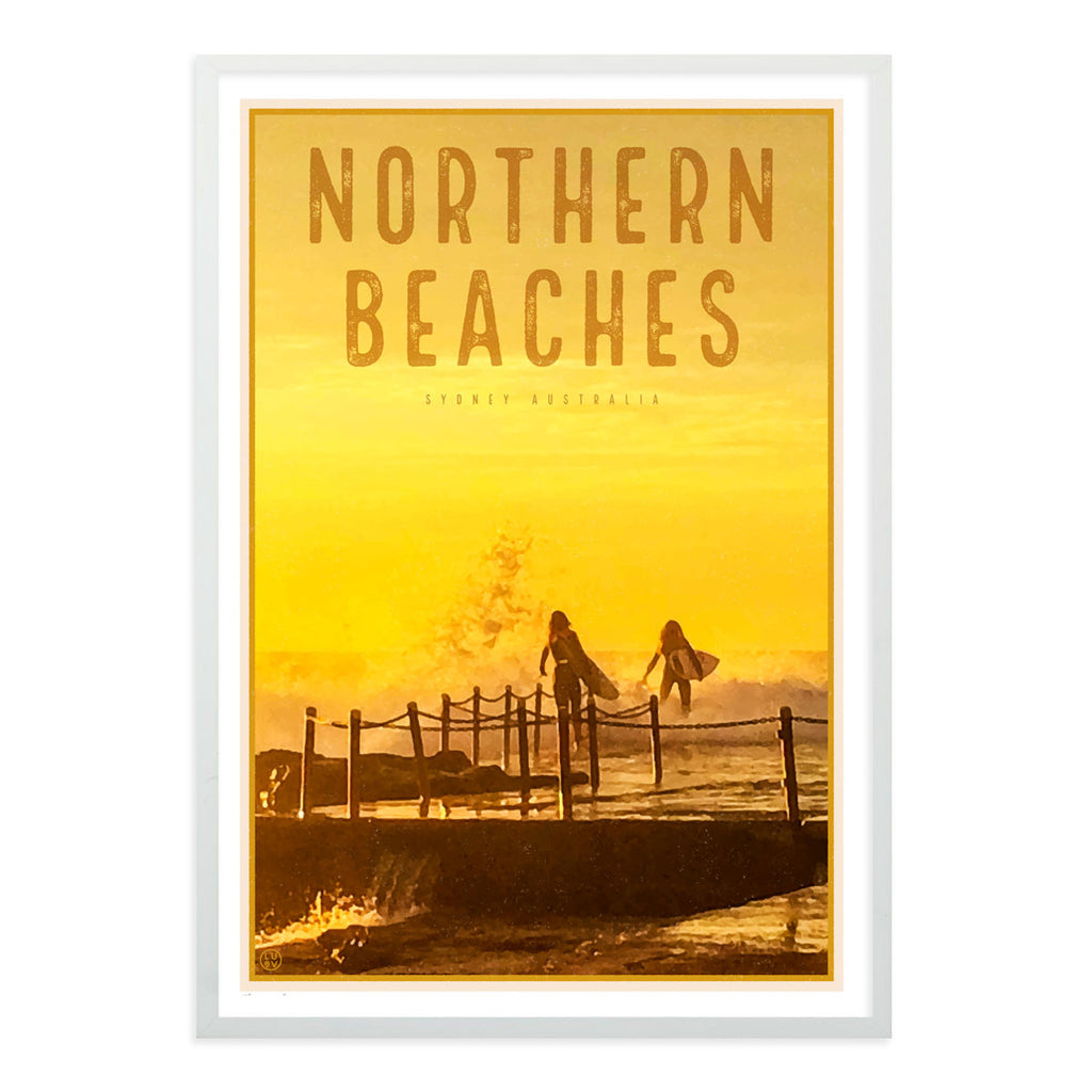 Northern Beaches vintage travel style wall art prints by Places We Luv