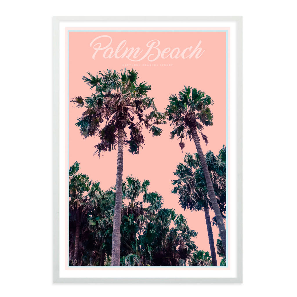 Palm Beach Palms - Sydney - original design white framed print by Placesweluv
