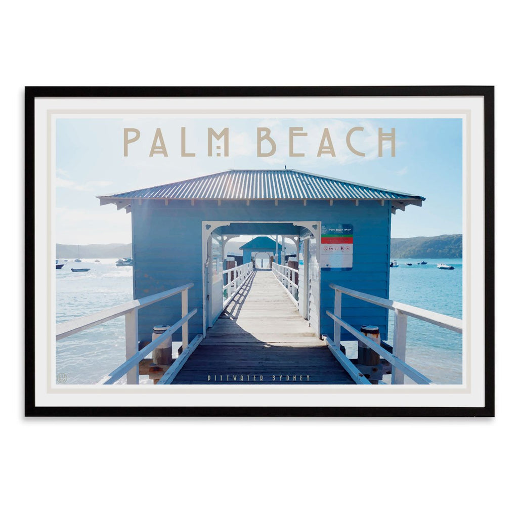 Palm Beach Ferry black framed print. Vintage travel style by Places We Luv