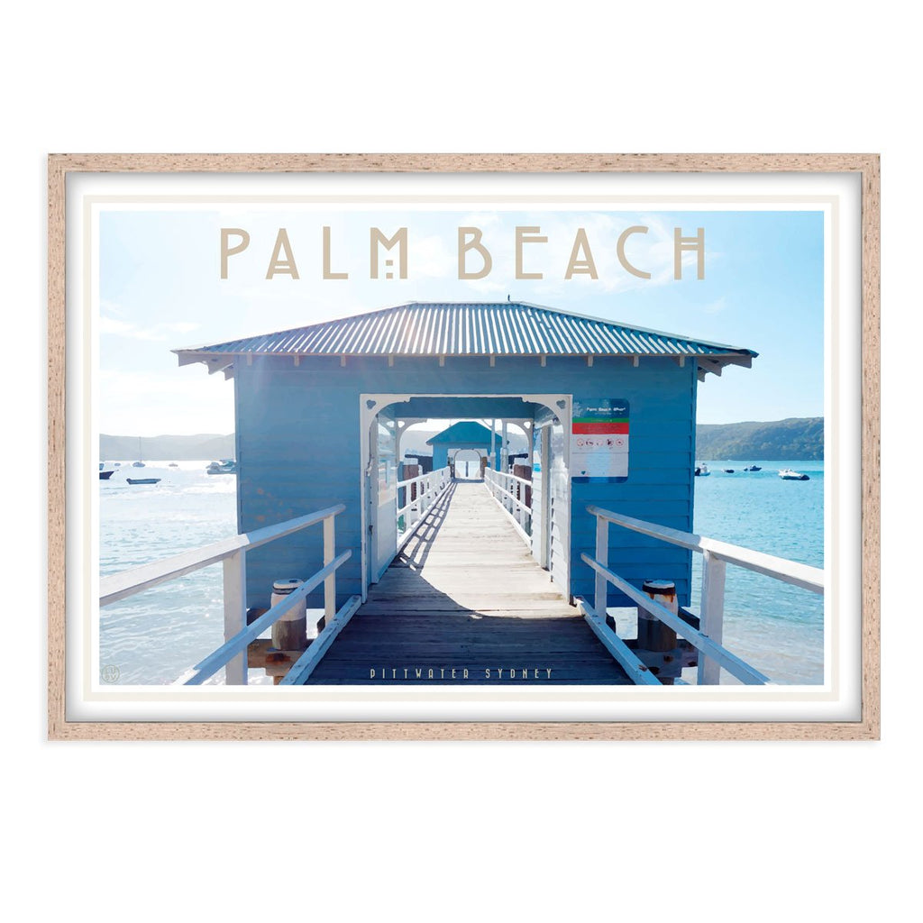 Palm Beach Ferry oak framed print. Vintage travel style by Places We Luv