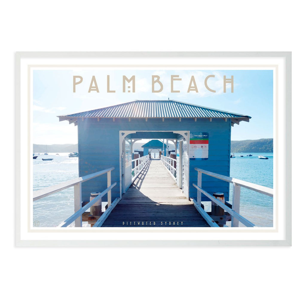 Palm Beach Ferry white framed print. Vintage travel style by Places We Luv