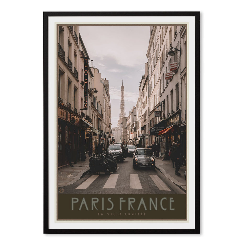 Paris City black framed print vintage travel style by Places We Luv