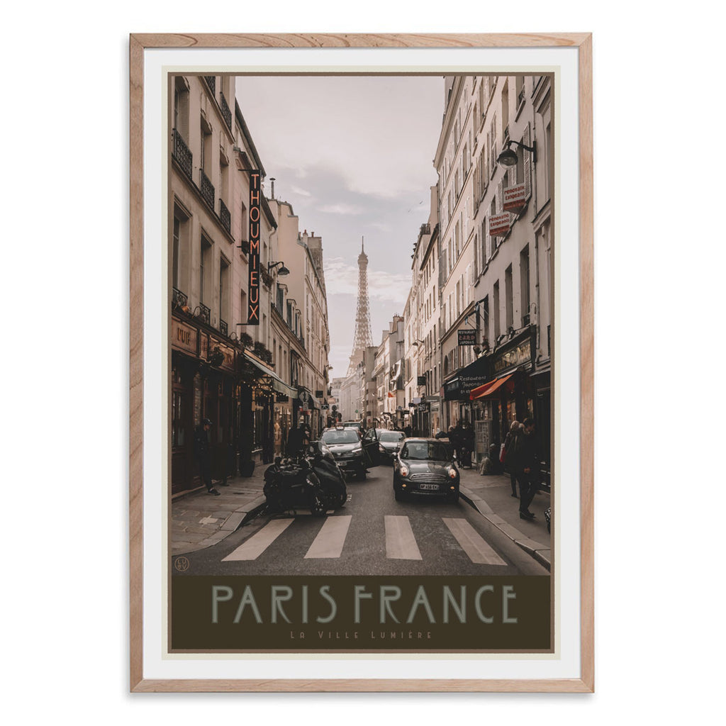 Paris City oak framed print vintage travel style by Places We Luv