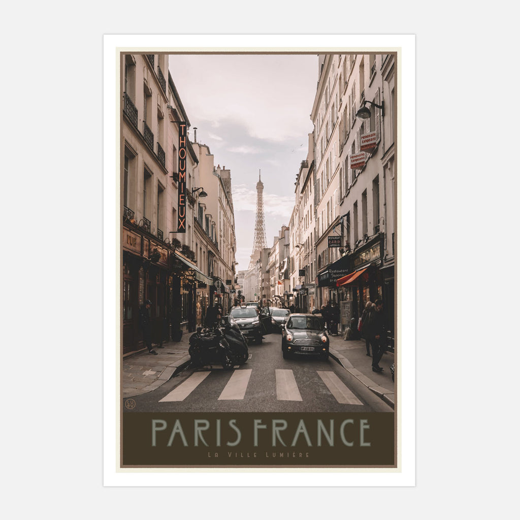 Paris City print vintage travel style by Places We Luv