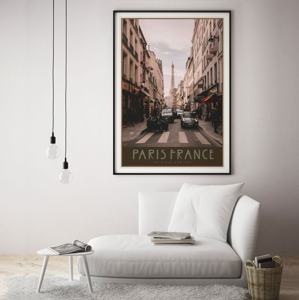 Paris City framed print vintage travel style by Places We Luv