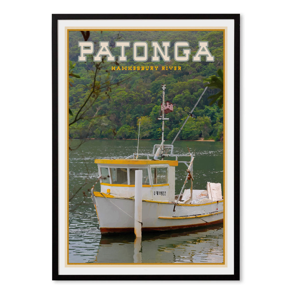 Patonga vintage travel style black framed print by places we luv