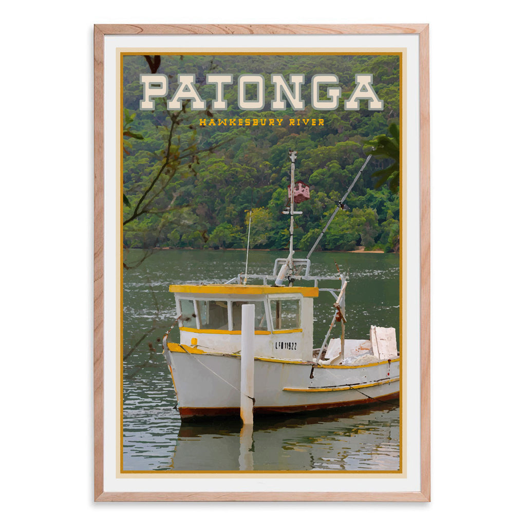 Patonga vintage travel style oak framed print by places we luv