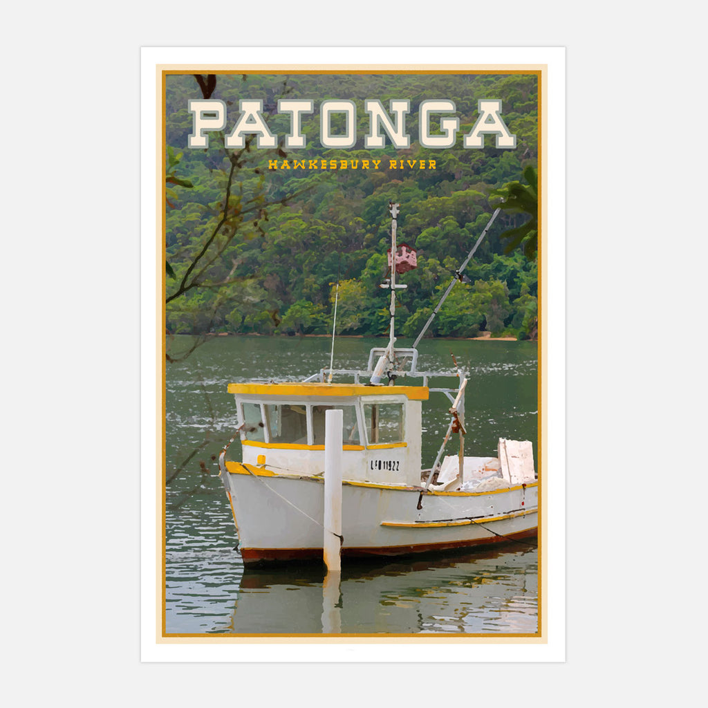 Patonga vintage travel style print by places we luv