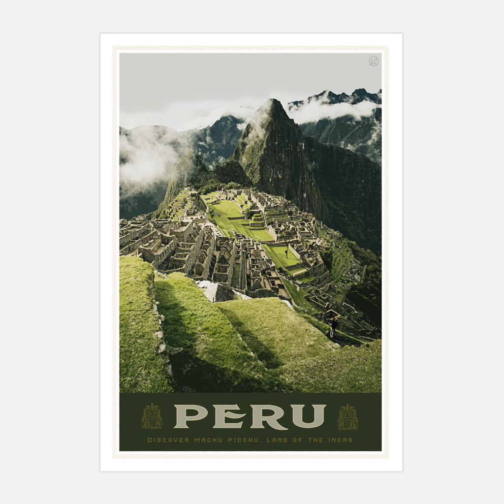 Machu Picchu Peru vintage travel style poster by places we luv
