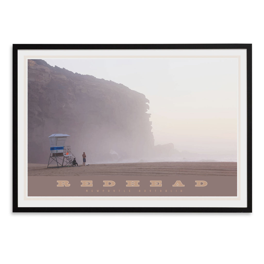 Redhead beach vintage travel style black framed print places we luv
