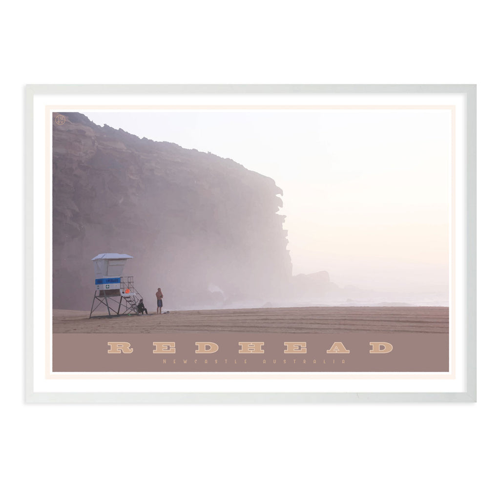 Redhead beach vintage travel style white framed print places we luv